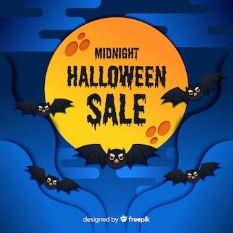 Platte halloween verkoop met maan kaas en vleermuizen