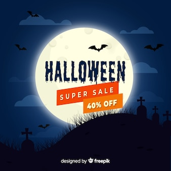 Platte halloween verkoop op een volle maan nacht