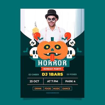 Platte halloween verticale partij flyer sjabloon met foto
