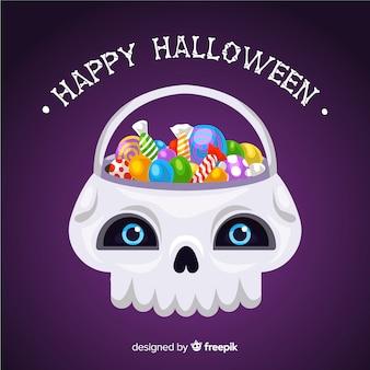 Platte halloween witte schedel tas