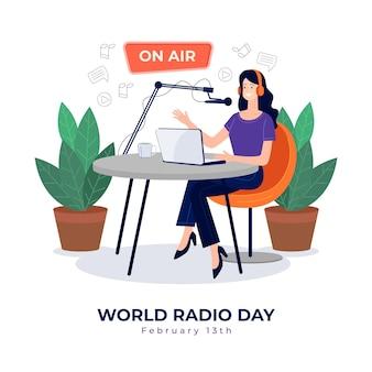 Platte hand getekend achtergrond wereldradiodag met vrouw