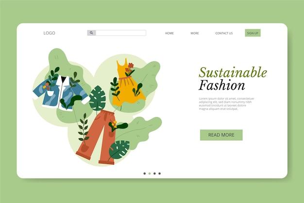 Platte hand getekend duurzame mode bestemmingspagina sjabloon