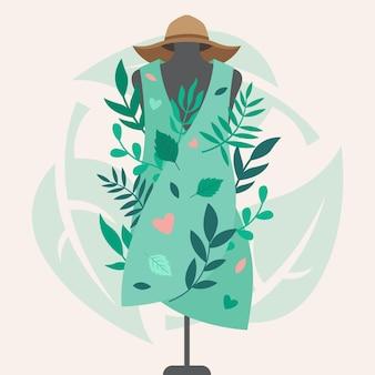 Platte hand getekend duurzame mode-illustratie met kledingstuk van etalagepop
