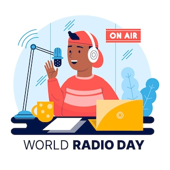 Platte hand getekend wereld radio dag achtergrond met karakter
