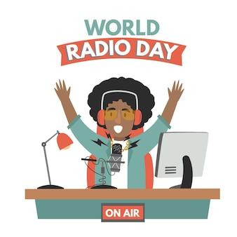 Platte hand getekend wereld radio dag achtergrond met man