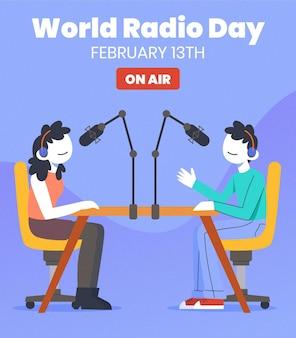 Platte hand getekend wereld radio dag achtergrond met presentatoren