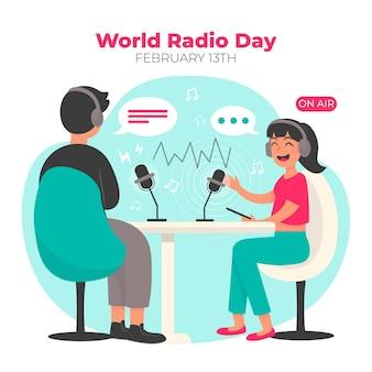Platte hand getekend wereld radio dag illustratie