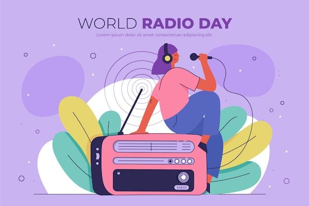 Platte hand getekend wereldradiodag