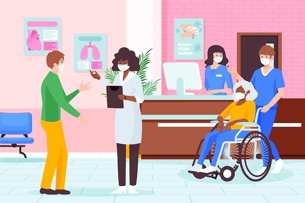 Platte hand getekend ziekenhuis receptie illustratie met verpleegsters en artsen