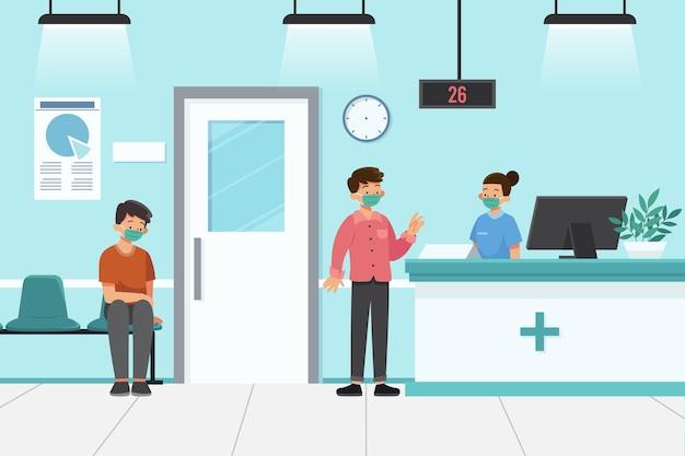 Platte hand getekend ziekenhuis receptie scène