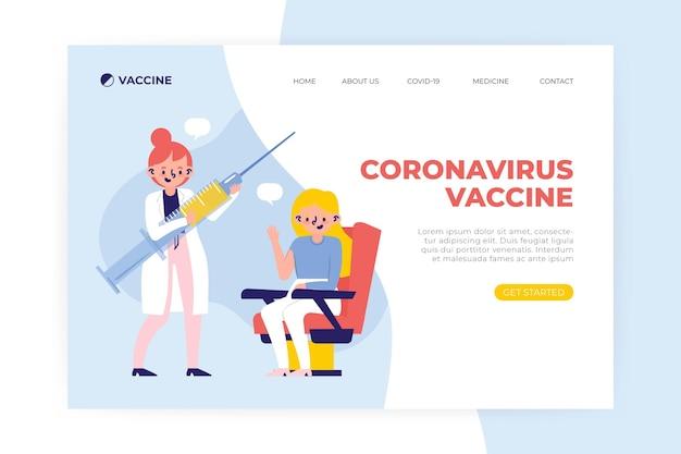 Platte hand getekende coronavirus vaccin websjabloon geïllustreerd