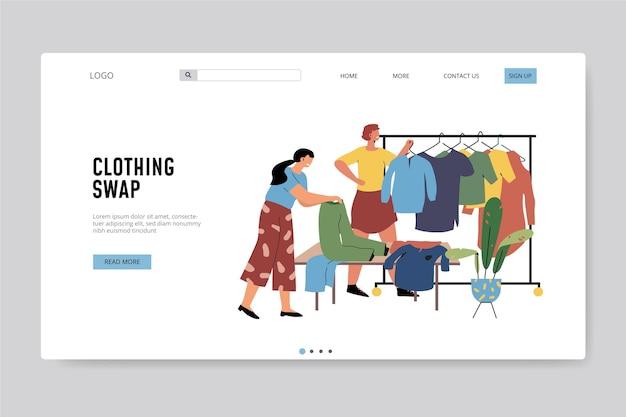 Platte hand getekende kledingruil websjabloon