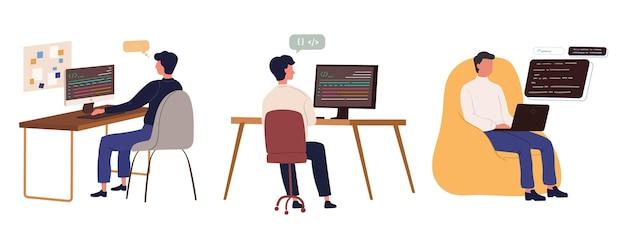 Platte hand getrokken webontwikkelaars