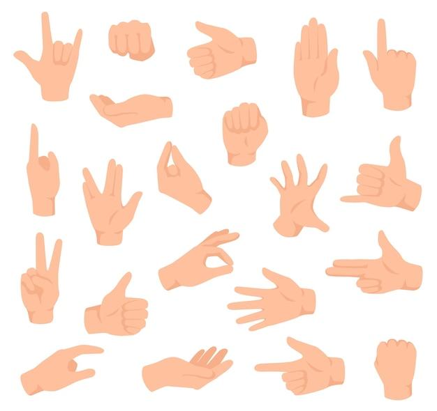 Platte handen. man hand verschillende gebaren, vuist. open palm overwinning en duimen omhoog, wijzend vingerteken