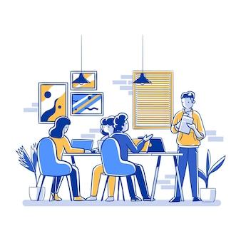Platte handgetekende collega's die in dezelfde kamer werken