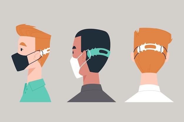 Platte handgetekende mensen met een verstelbare gezichtsmaskerband