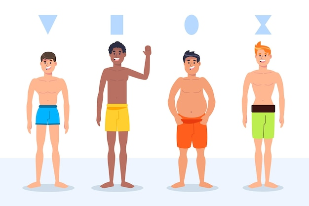 Platte handgetekende soorten mannelijke lichaamsvormen