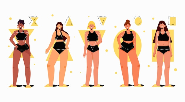 Platte handgetekende soorten vrouwelijke lichaamsvormen