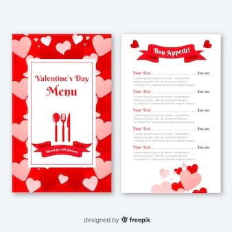 Platte harten valentijn-menu