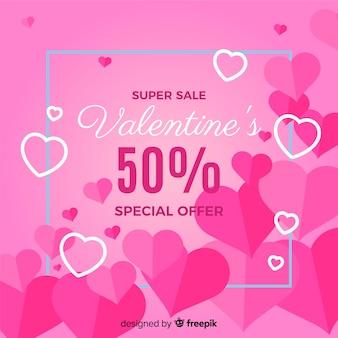 Platte harten valentijn verkoop achtergrond