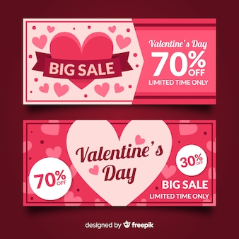 Platte harten valentijn verkoop banner