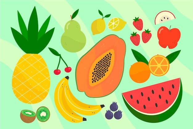 Platte heerlijke fruitcollectie