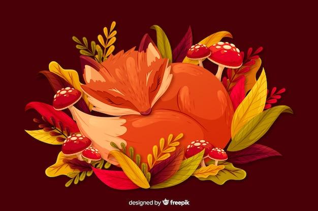 Platte herfst achtergrond met bladeren