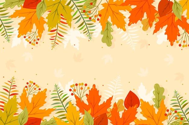Platte herfst achtergrond met lege ruimte