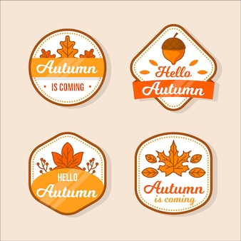 Platte herfst badge collectie