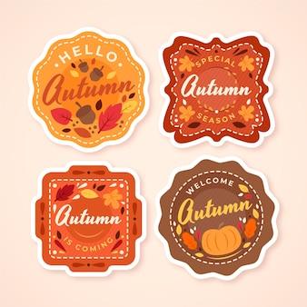 Platte herfst badges collectie