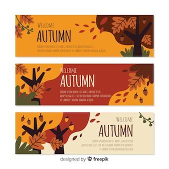Platte herfst banners sjabloon met bladeren