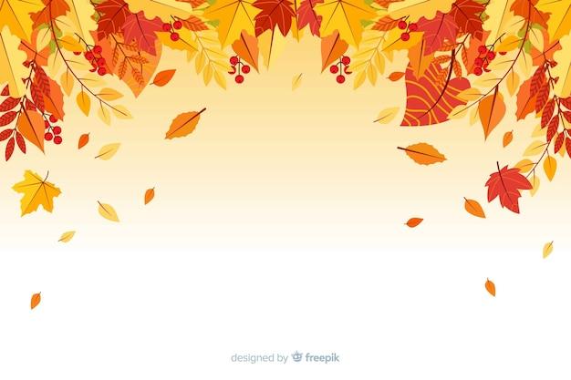 Platte herfst bos bladeren achtergrond Premium Vector