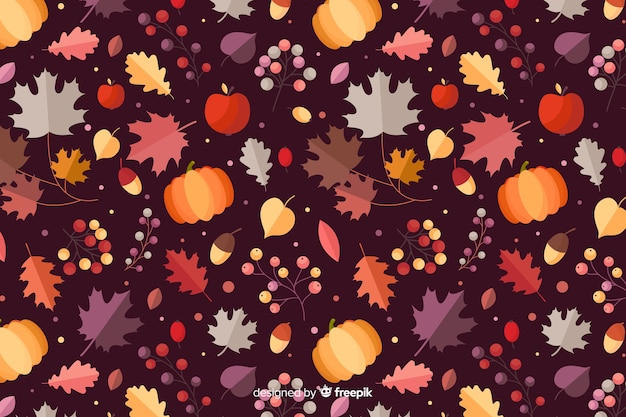 Platte herfst bos verlaat achtergrond