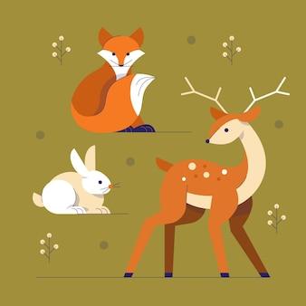 Platte herfst dieren collectie