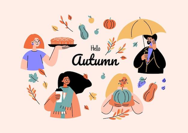 Platte herfst illustratie