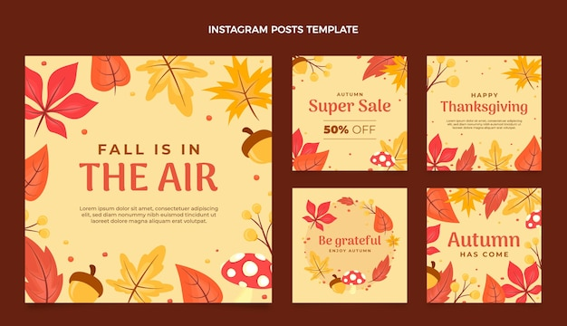 Platte herfst instagram postverzameling