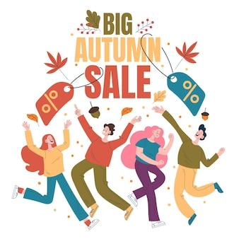 Platte herfst mensen verkoop winkelen illustratie