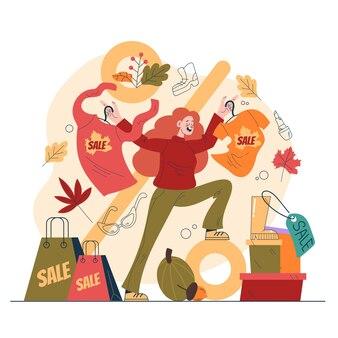 Platte herfst mensen verkoop winkelen