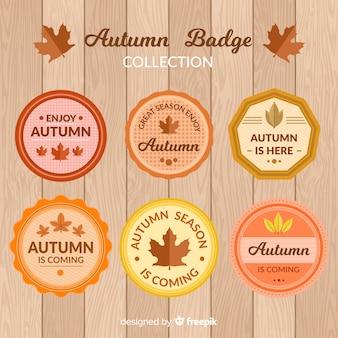 Platte herfst ontwerp badge collectie