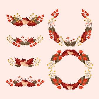 Platte herfst ornamenten collectie