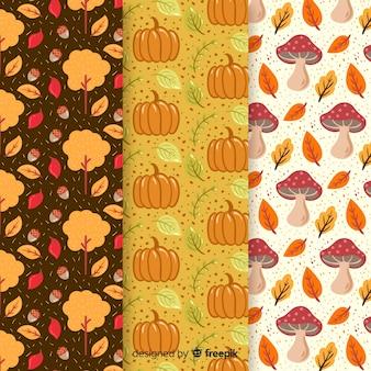Platte herfst patroon collectie met bladeren