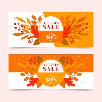 Platte herfst verkoop banners set
