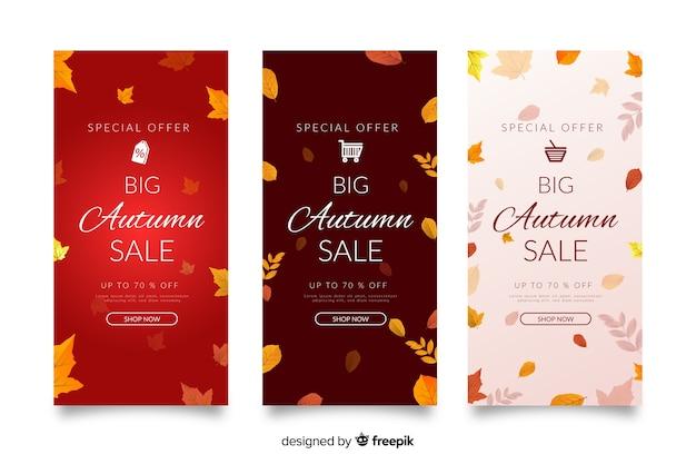Platte herfst verkoop banners sjabloon
