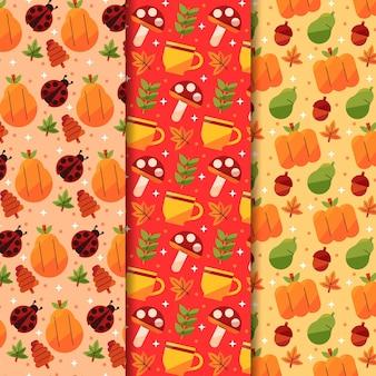 Platte herfstpatronen collectie
