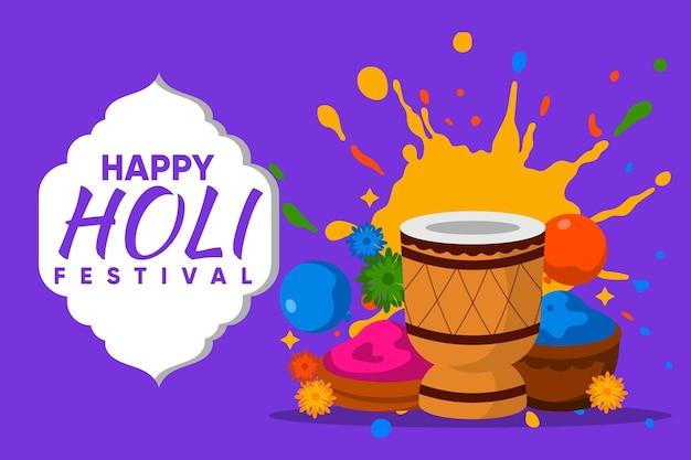 Platte holi festival illustratie
