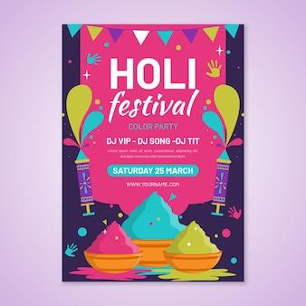 Platte holi festival poster ontwerpsjabloon