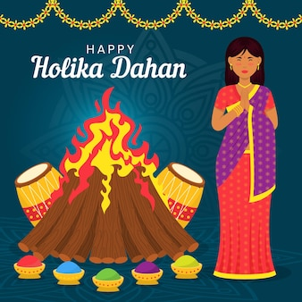 Platte holika dahan illustratie