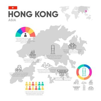 Platte hong kong kaart infographics sjabloon