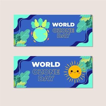 Platte horizontale wereld ozon dag banners set