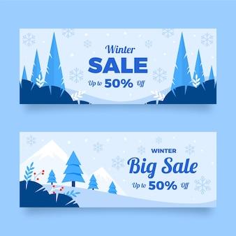 Platte horizontale winterverkoop banners set